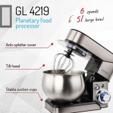 Mixer Planetar Gerlach GL 4219 , Putere 1800 W, Capacitate bol 5 Litri - HotPick