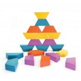 Joc educativ Tangram cu 80 piese din lemn si 4 planse cu model Exploring Svoora - HotPick