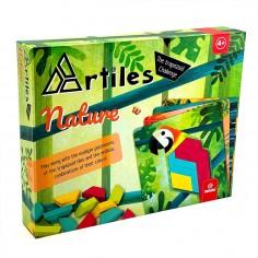 Joc educativ Tangram cu 80 piese din lemn si 4 planse cu model Nature Svoora