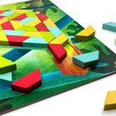 Joc educativ Tangram cu 80 piese din lemn si 4 planse cu model Nature Svoora - HotPick