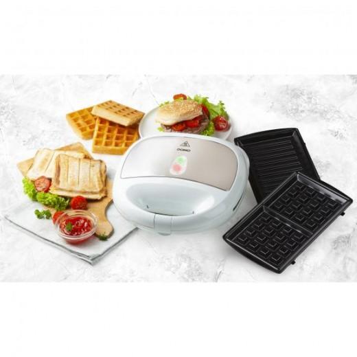 Aparat de sandwich 3 in 1 DO9122C cu placi interschimbabile, pentru pregatire sandwich, grill sau waffe, 750 w - HotPick