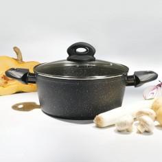 Oala invelis de marmura cu capac TS-1295, 28 cm, 7 L