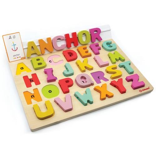 Puzzle Alfabet Litere Mari Din Lemn Plus 50 Flash Carduri  Primele Mele Cuvinte In Limba Engleza