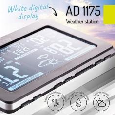 Statie meteo AD 1175, termometru interior-exterior, ceas, alarma