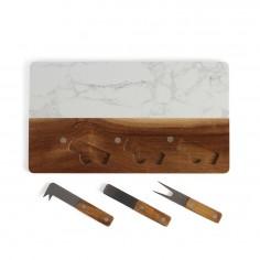 Platou servire branzeturi MES129, 3 piese, marmura si lemn, 35 x 20 x 1,2 cm