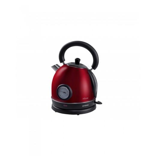 Fierbator / Ceainic electric cu un volum de apa de 1,8 l Hiluxe, 1800 W, design elegant, Rosu - HotPick