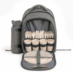 Rucsac pentru picnic echipat si cu suport de sticla SEP133, 4 persoane , izolat, 21 accesorii