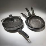 Tigaie invelis de marmura cu capac  TS-1254P, 24 cm - HotPick