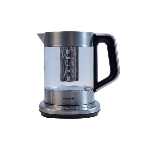 Fierbator din sticla cu infuzor pentru ceai VK-4000, 4 setari de temeperatura, 1.5 L, 2000 W - HotPick